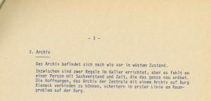 35 Vorrat Archiv in wüstem Zustand, Bericht Bundeszentrale BV 1980