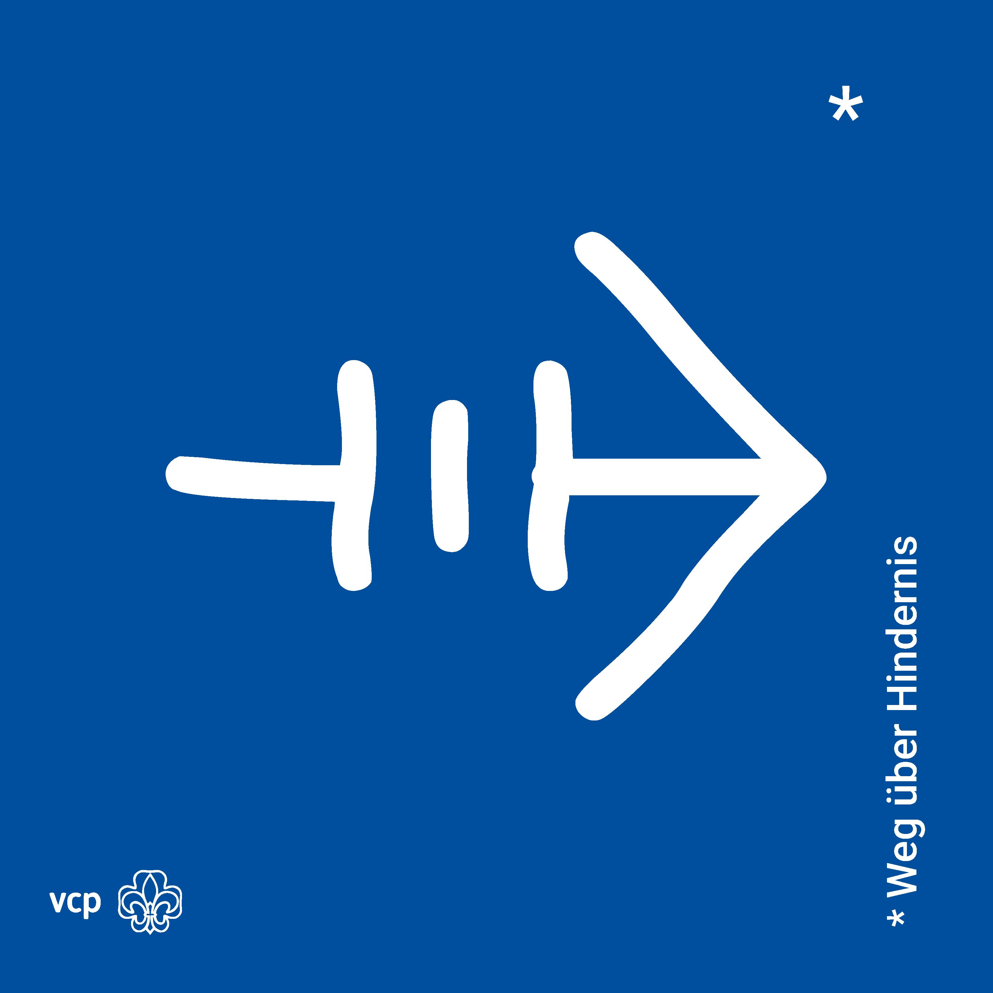 Weg über Hindernis - VCP-Waldläuferzeichen
