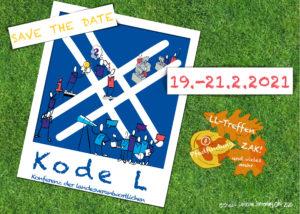 """Informationen zur Veranstaltung auf einem Plakat. Blaues Waldläuferzeichen """"sammeln"""" mit Strichmännchen, die darauf herumklettern."""